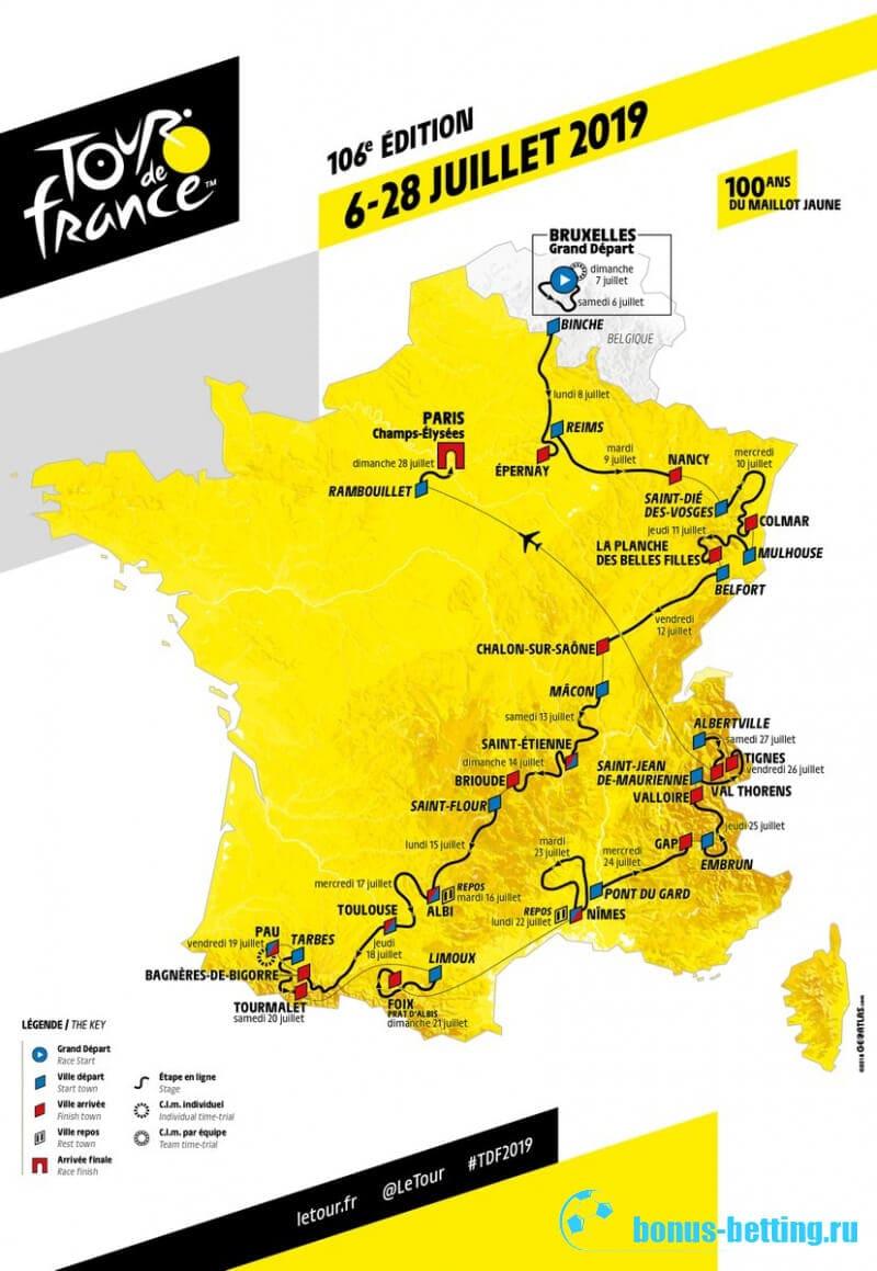 Тур де Франс 2019 маршрут