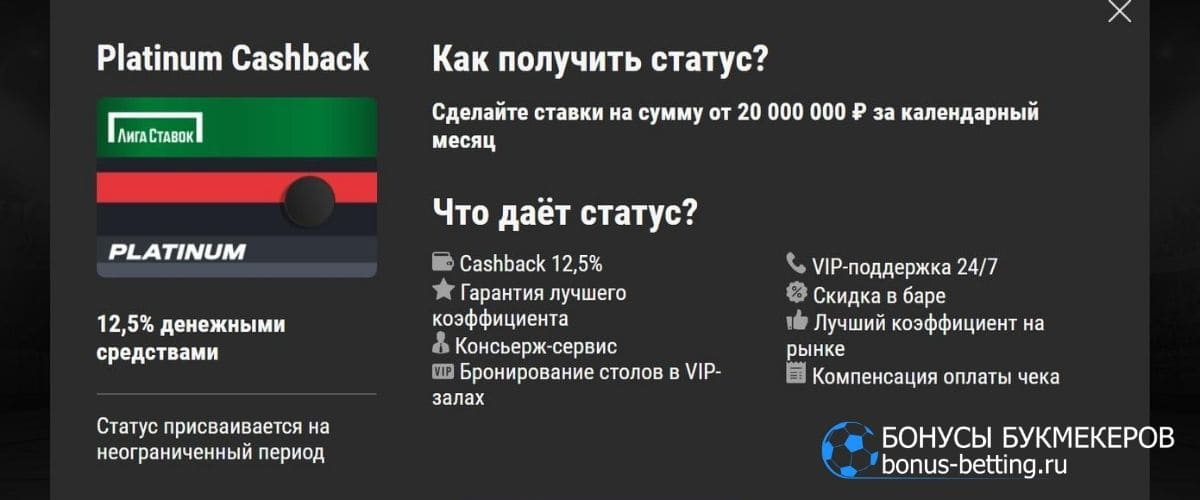 Platimun Cashback в БК Лига Ставок