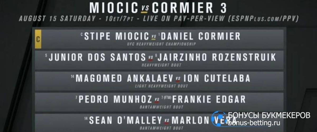 UFC 252: КАРД