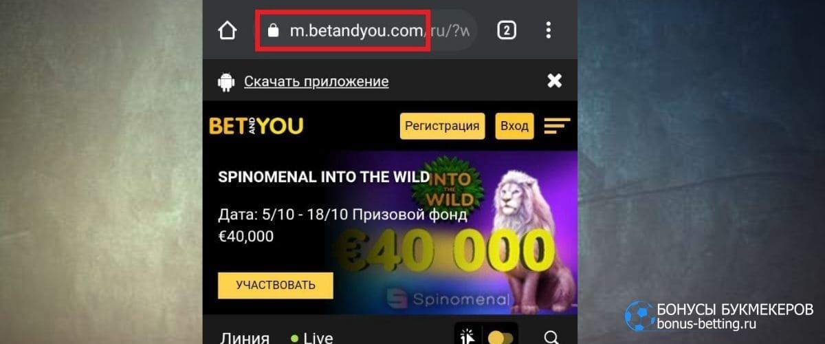 Мобильная версия Betandyou
