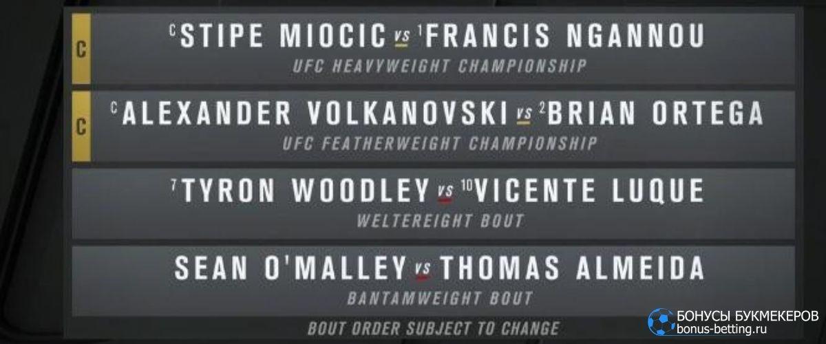 Турнир UFC 260: кард