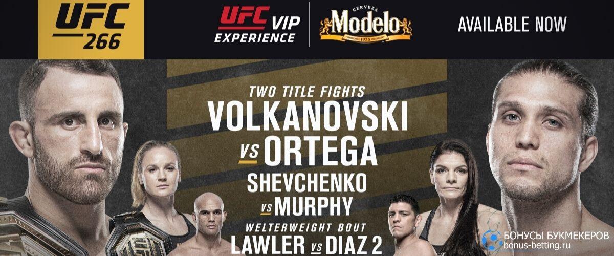 Турнир UFC 266: кард